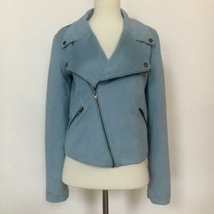 Urban outfitters blue faux suede moto jacket S